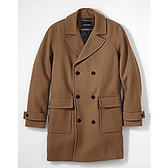 Lands' End - Brown men's regular double-breasted wool overcoat