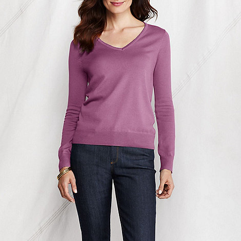 Lands+ End - women+s fine gauge supima picot v-neck