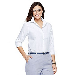 Lands' End - White women's plus plain supima non-iron shirt