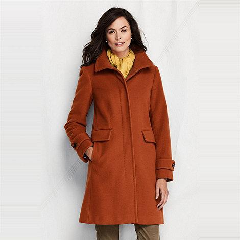Lands+ End - Orange women+s luxe wool walker coat