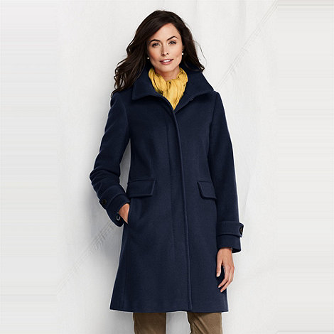 Lands+ End - Blue women+s luxe wool walker coat