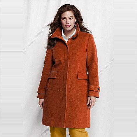 Lands+ End - Orange women+s plus luxe wool walker coat