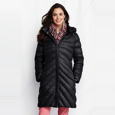 Lands+ End - Black women+s featherlight down coat