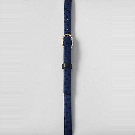 Lands+ End - Blue women+s print calf hair skinny belt