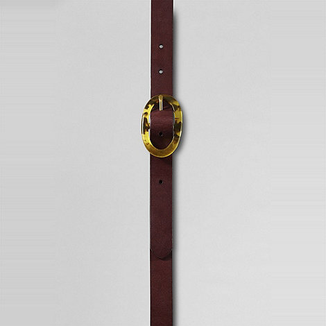 Lands+ End - Brown women+s tortoise buckle belt