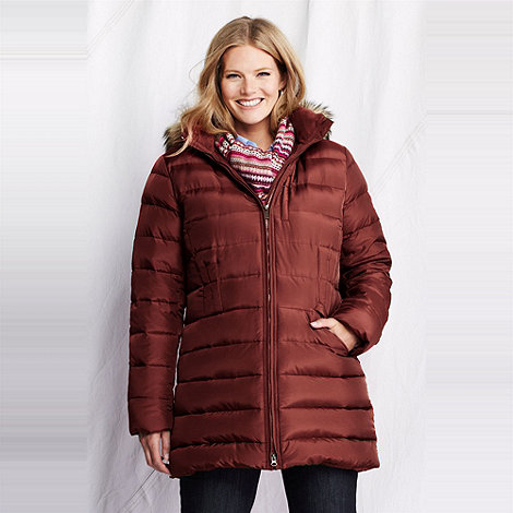 Lands+ End - Brown women+s plus shimmer down coat