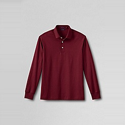 Lands' End - Red men's long sleeve supima polo