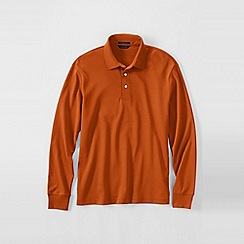 Lands' End - Orange men's long sleeve supima polo