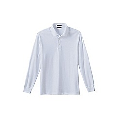 Lands' End - White men's long sleeve supima polo