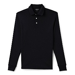 Lands' End - Black men's long sleeve tailored fit supima polo