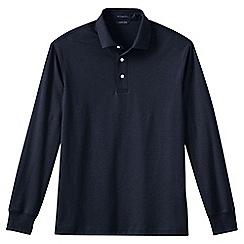 Lands' End - Blue men's long sleeve tailored fit supima polo