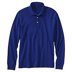 Lands' End - Blue long sleeve tailored fit supima polo