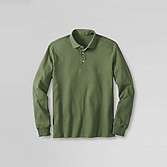 Lands' End - Green men's long sleeve tailored fit supima polo