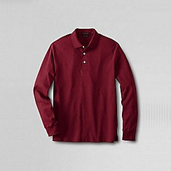 Lands' End - Red men's long sleeve tailored fit supima polo