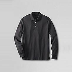 Lands' End - Grey men's long sleeve tailored fit supima polo