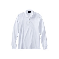 Lands' End - White men's long sleeve tailored fit supima polo