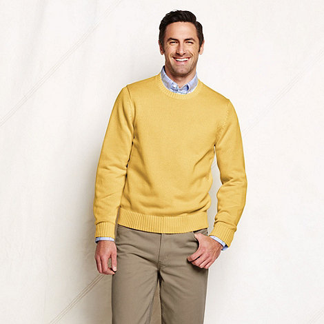 Lands+ End - Yellow men+s regular drifter crew neck cotton sweater