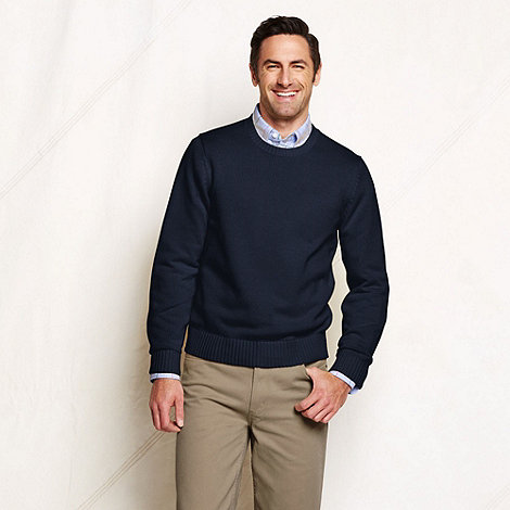 Lands+ End - Blue men+s regular drifter crew neck cotton sweater