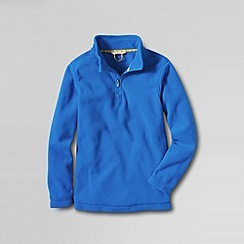 Lands' End - Blue boys' plain thermacheck-100 fleece half zip pullover