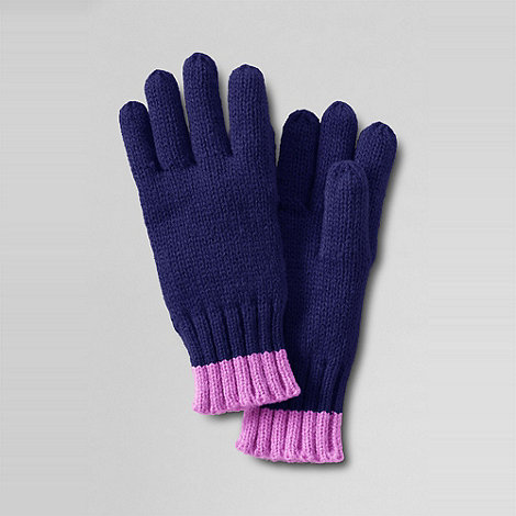 Lands+ End - Purple girls+ spot and stripe gloves