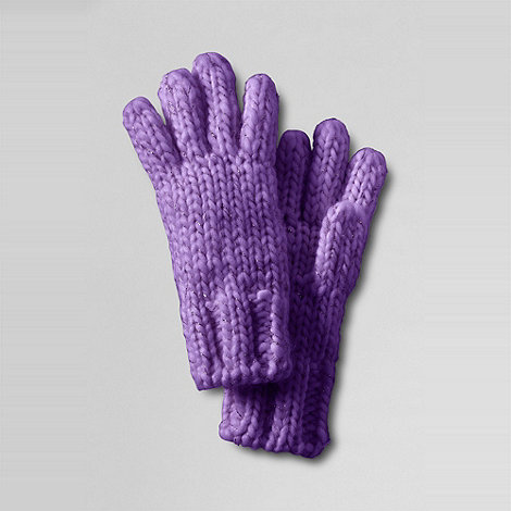 Lands+ End - girls+ shimmer aran gloves