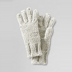 Lands' End - Cream girls' shimmer aran gloves