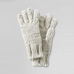 Lands' End - Cream girls' shimmer aran gloves