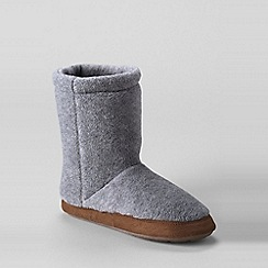 Lands' End - Grey kids' fleece bootie slippers