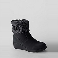 Lands' End - Black girls' thalia foldover ankle boots