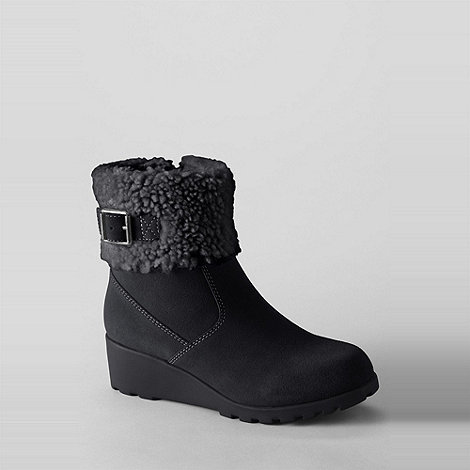 Lands+ End - Black girls+ thalia foldover ankle boots