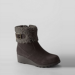 Lands' End - Brown girls' thalia foldover ankle boots