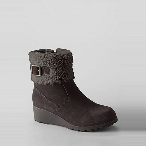 Lands+ End - Brown girls+ thalia foldover ankle boots