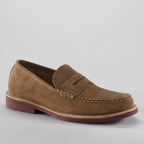 Lands+ End - Brown men+s archer suede loafers