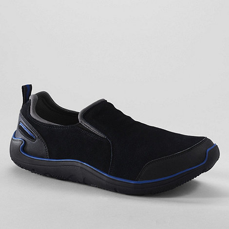 Lands+ End - Black men+s active sport slip-on shoes