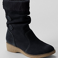 Lands' End - Black women's short chalet suede boots