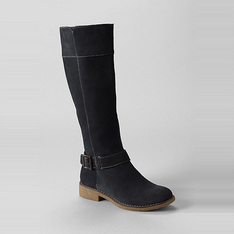 Lands+ End - Black women+s chalet suede knee-length boots