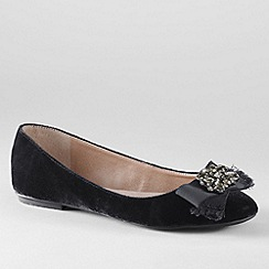 Lands' End - Black women's bailey jewel ballet shoes