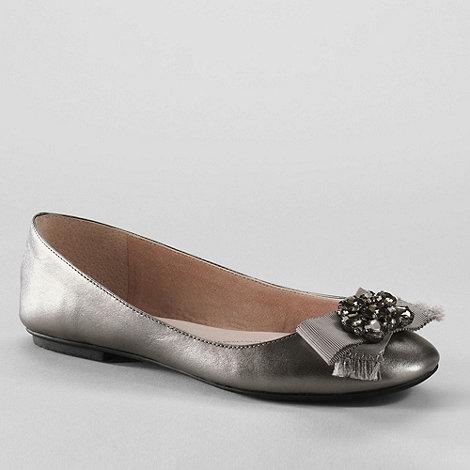Lands+ End - Grey women+s bailey jewel ballet shoes