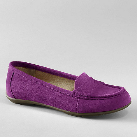 Lands+ End - Purple women+s suede loafers