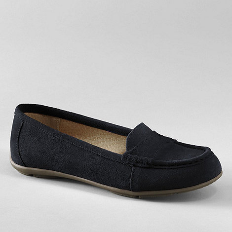 Lands+ End - Black women+s suede loafers