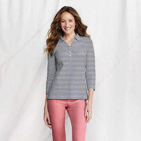 Lands+ End - Cream women+s striped three-quarter sleeve polo
