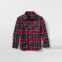 Lands' End - Red little boys plaid flannel shirt