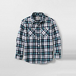 Lands' End - Blue little boys plaid flannel shirt