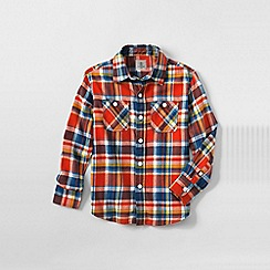 Lands' End - Orange little boys plaid flannel shirt