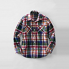 Lands' End - Grey little boys plaid flannel shirt