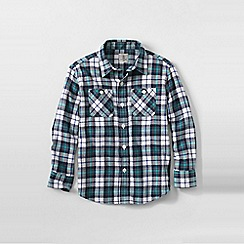 Lands' End - Blue boys plaid flannel shirt
