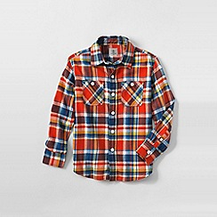 Lands' End - Orange boys plaid flannel shirt