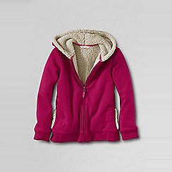 Lands' End - Pink girls' sherpa lined zip front hoodie