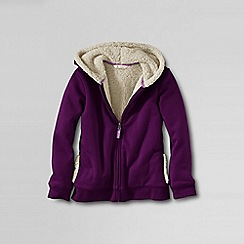 Lands' End - Purple girls' sherpa lined zip front hoodie