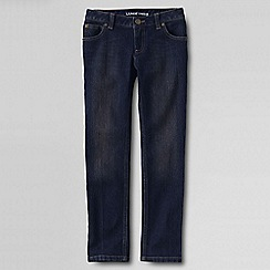 Lands' End - Girls' blue 5-pocket pencil leg denim jeans
